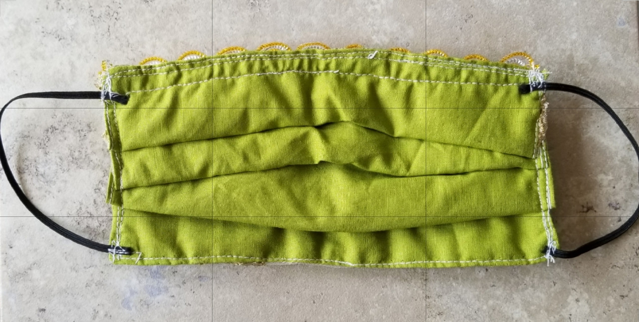 Green Indian Embroidered  Face Mask : Lrg