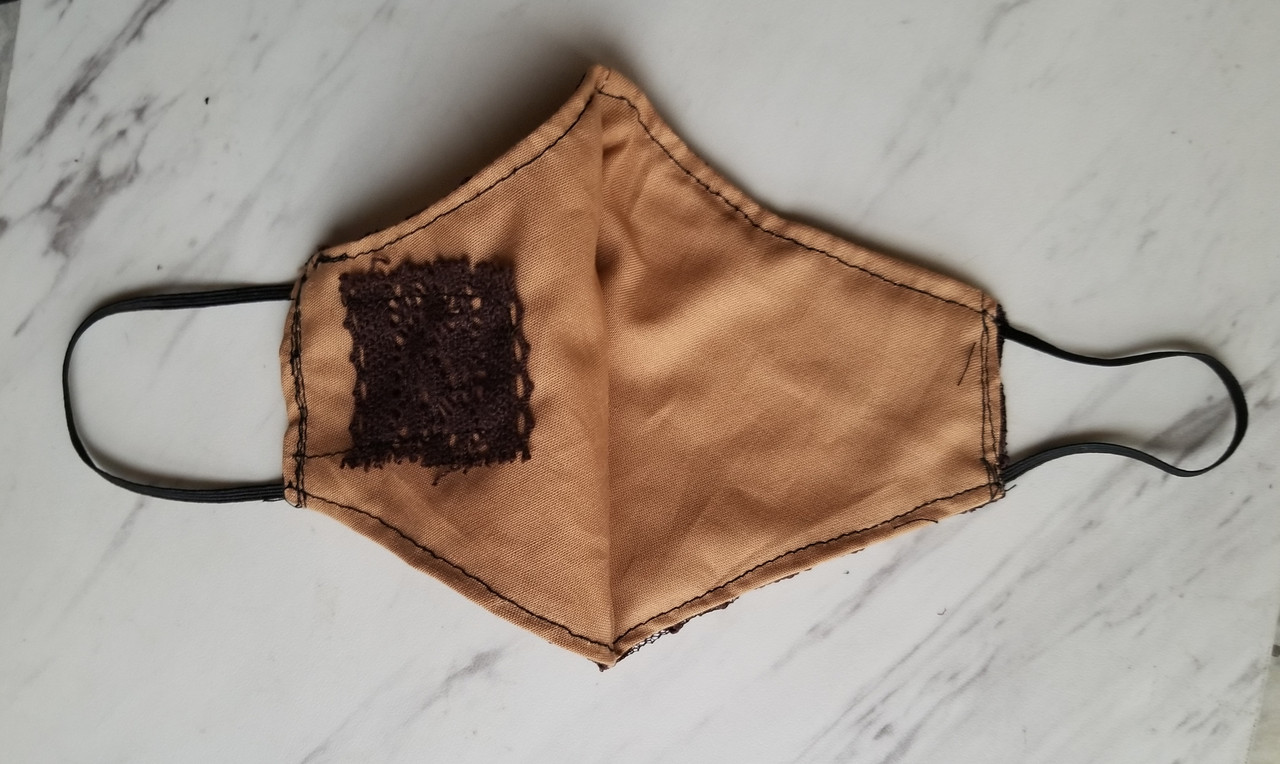 Brown lace facemask w tan background