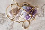 Amethyst, Quartz, & Lepidolite Galaxy Necklace