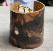 Goat leather cuff - Dark Brown