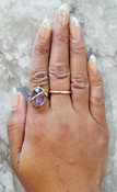 Amethyst Diamond Cut Oval Ring