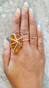 Amber mixed metal Ring