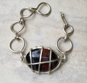 Petrified Wood Silver Chain Bracelet