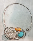 Yellow Coral, Turquoise, & Quartz Galaxy Necklace