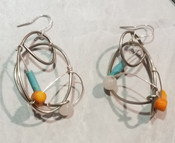 Yellow Coral, Turquoise, & Quartz  Galaxy Earrings