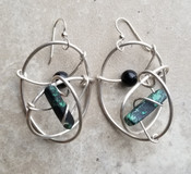 Green jasper & onyx silver galaxy earrings