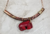 Coral & bronze patina tube necklace