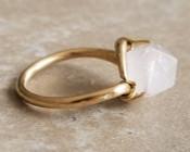 Geometric Rose Quartz Ring