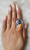 Coral & Lapis  Galaxy Ring