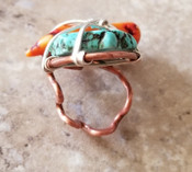 Abstract Turquoise & Coral Ring