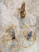 Large Rainbow Quartz Galaxy Earrings