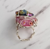 Pink Agate & Rainbow Quartz Ring
