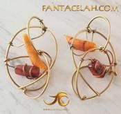 Carnelian & Coral Galaxy Earrings