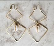Double Diamond Cowrie Shell Hoops
