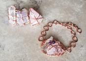 Amethyst, Clear & Rose Quartz 3 finger ring