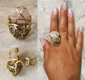 Rose Quartz & Pyrite Ring