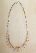 Agate, Aura & Rose Quartz Crystal Necklace
