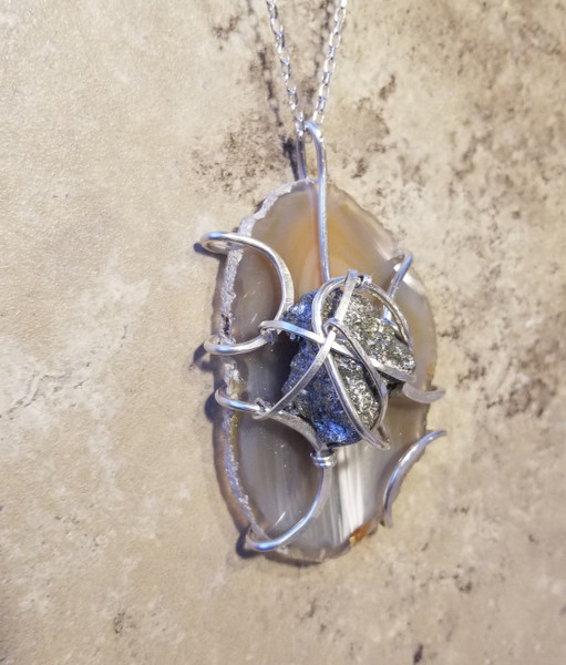 Agate & Pyrite Silver Necklace