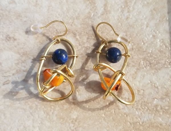 Small Yellow Coral & Lapis Galaxy Earrings