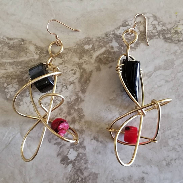Coral & Onyx Galaxy Earring
