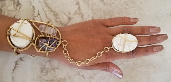 Amethyst , Rose Quartz, & Howlite Goddess Bracelet