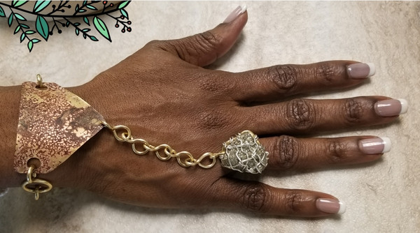 Pyrite pyramid goddess bracelet