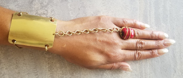 Coral Golden Goddess Bracelet