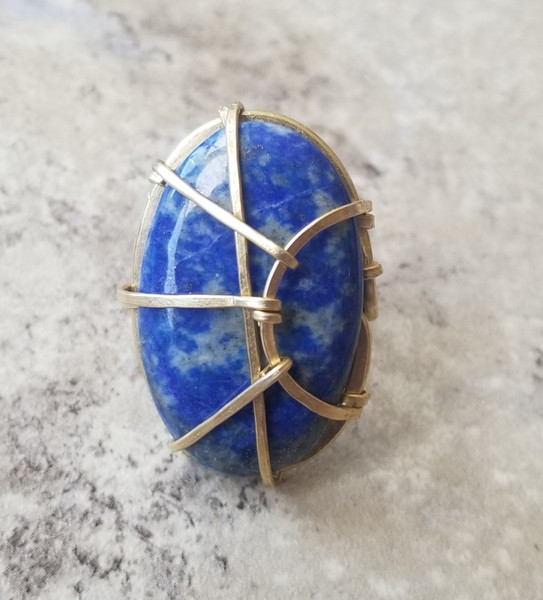 Lapis  Oblong Ring