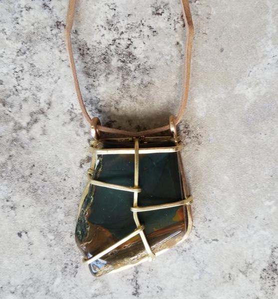 Jasper & Leather Necklace