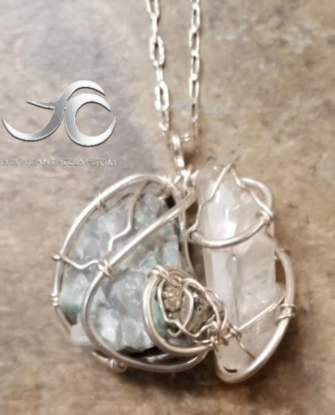 Heavenly Raw Emerald, Quartz, & Pyrite Galaxy Necklace