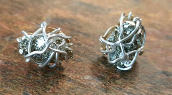 Pyrite stud earrings