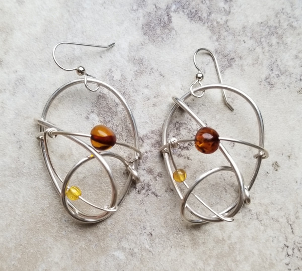 Amber & Silver Galaxy Earrings