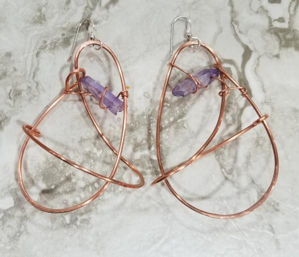 Purple Quartz Galaxy Earrings