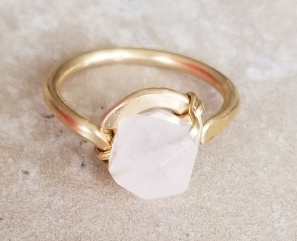 Geometric Rose Quartz Ring