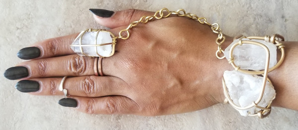 Druzy & Quartz Galaxy Goddess Bracelet