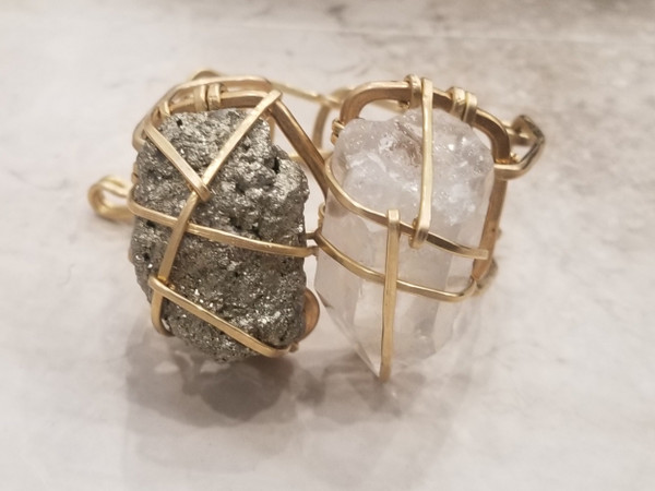 Pyrite & Quartz Crystal Galaxy Cuff