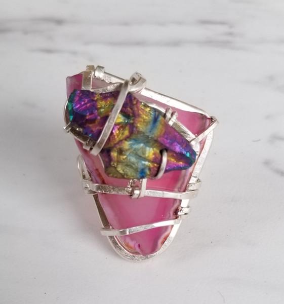 Pink Agate & Rainbow Quartz Ring