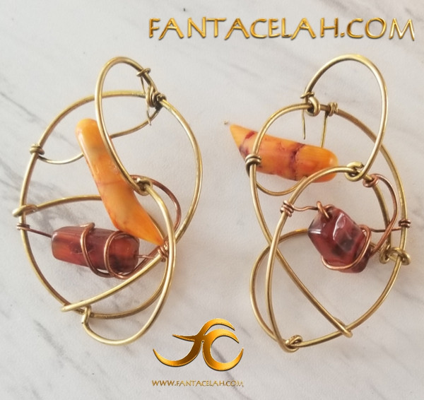 Carnelian & Coral Galaxy Earrings