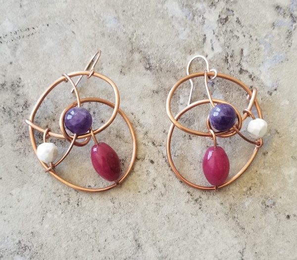 Amethyst & Howlite Galaxy Earrings