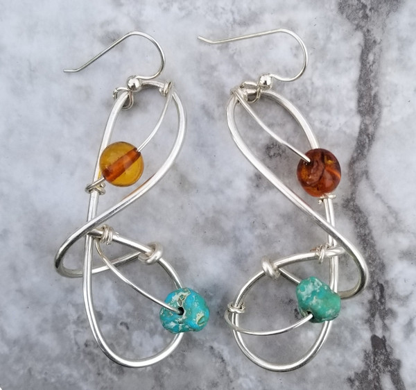 Amber & Turquoise Galaxy Earrings