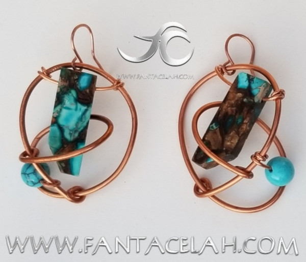 Blue Howlite & Jasper Galaxy Earrings