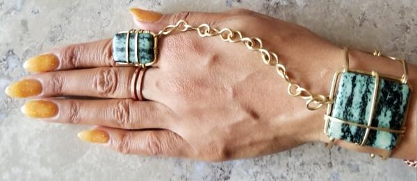 Green Zebra Jasper Goddess Bracelet