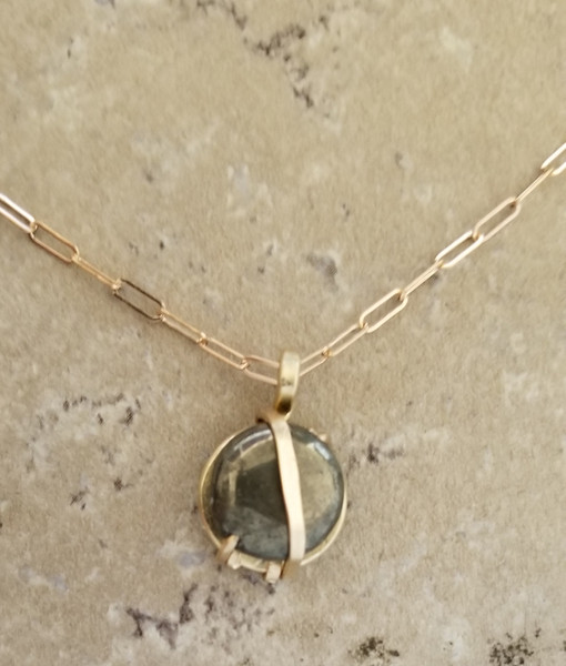 Circular Pyrite Necklace: sm