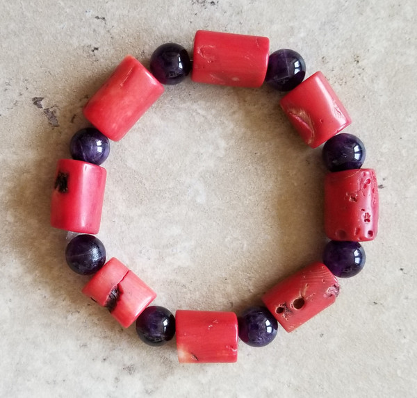 Coral & Onyx Yoga Bracelet