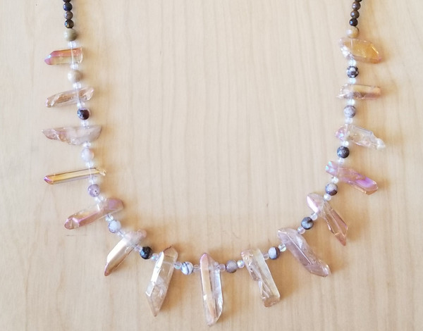 Aura Quartz & Tiger's Eye Crystal Necklace