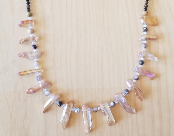 Aura Quartz & Tiger's Eye Crystal Necklace