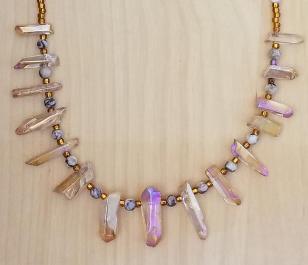 Agate, Aura & Rose Quartz Crystal Necklace