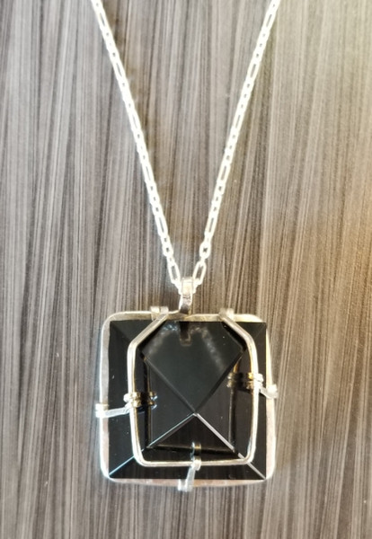 Onyx  Pyramid Necklace