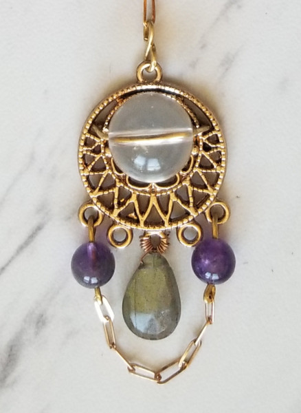 Third Eye Bliss Adornment; Quartz, Labradorite , & Amethyst