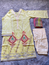 Pakistani Embroidered Lawn Dress Cotton -Lemon